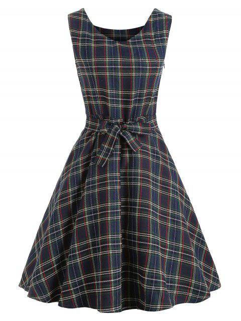 Robe Patineuse à Tartan Sans Manches - Cadetblue XL