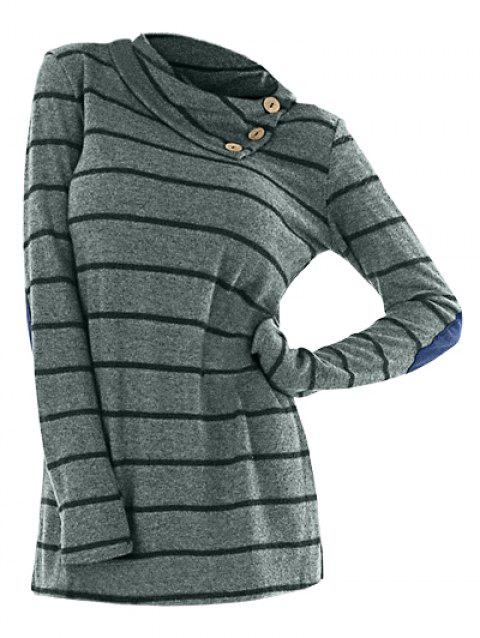 Striped Long Sleeve Button Sweater - GREEN L