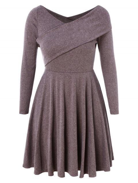 Plus Size Embellished Fit and Flare Dress - DULL PURPLE 1X