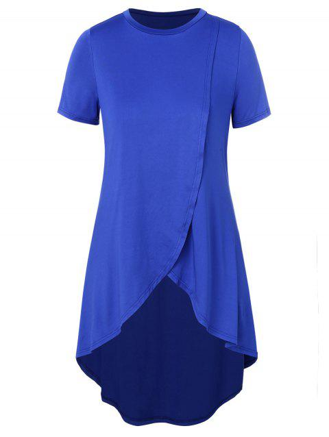 Plus Size High Low Short Sleeve Top - BLUE 5X