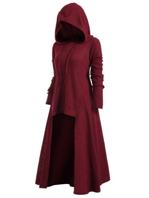 Hooded Plus Size High Low Sweater - RED WINE 5X