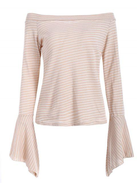 Striped Flare Sleeve Knit Blouse - APRICOT M