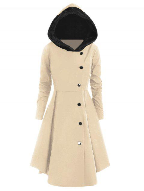 Plus Size Asymmetric Contrast Hooded Skirted Coat - BLANCHED ALMOND 1X