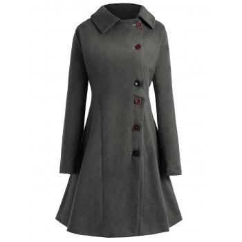 Plus Size Button Up Flare Coat