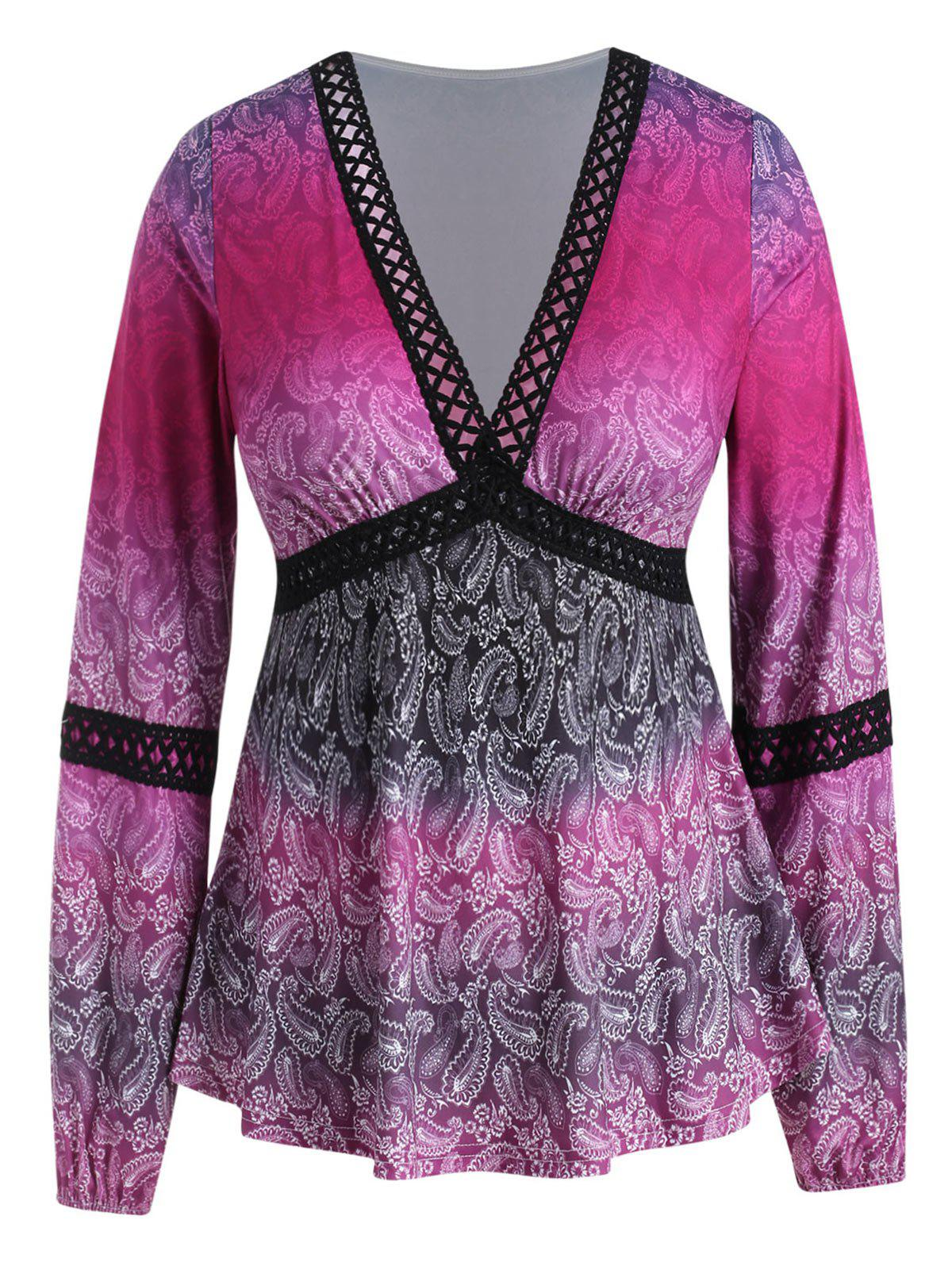 Plus Size Paisley Hollow Out Plunging Tee - NEON PINK 1X