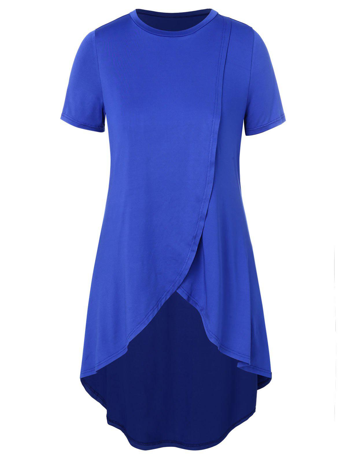 Plus Size High Low Short Sleeve Top - BLUE 4X