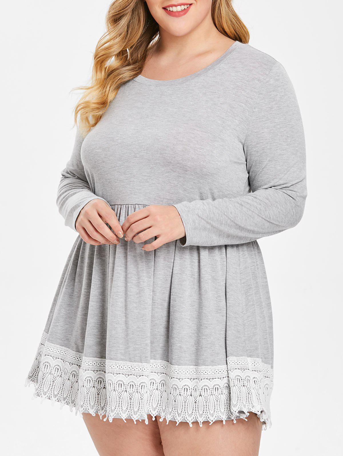 Plus Size Lace Panel Peplum Tee - LIGHT GRAY 2X