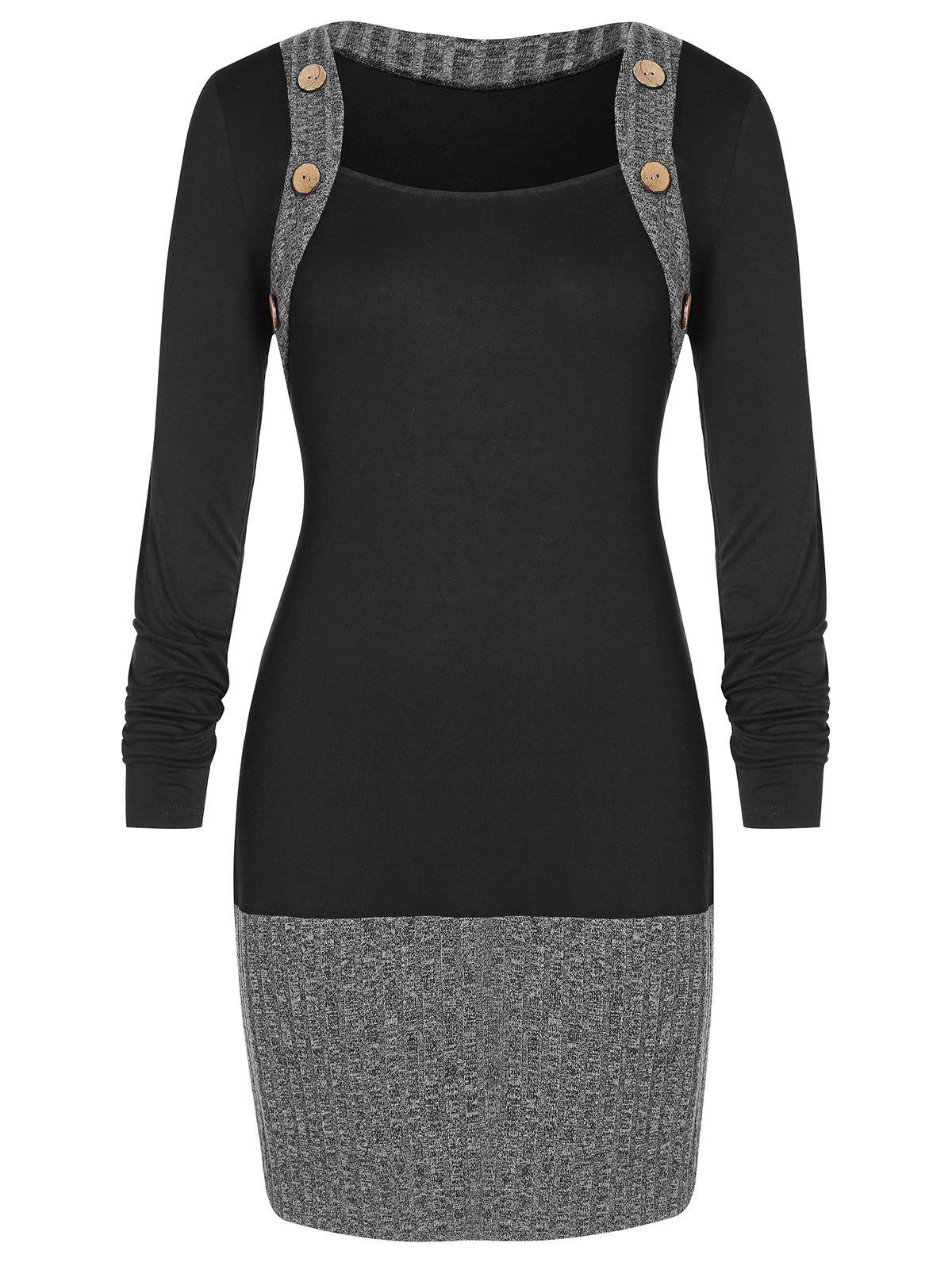 Plus Size Contrast Mini Sheath Dress - BLACK 1X