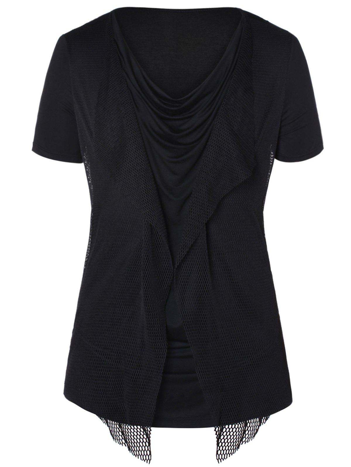 Pile Heap Collar Mesh Panel T-shirt - BLACK 2XL