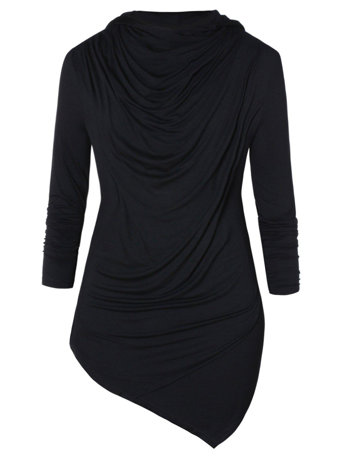 Asymmetric Pile Heap Collar Long Sleeve T-shirt - BLACK XL