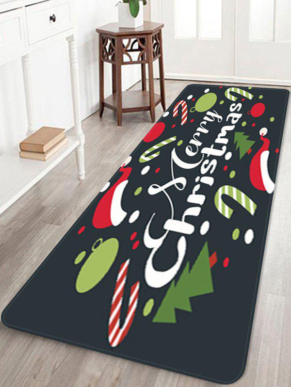 Merry Christmas Tree Candy Cane Printed Floor Mat - DARK FOREST GREEN W24 X L71 INCH