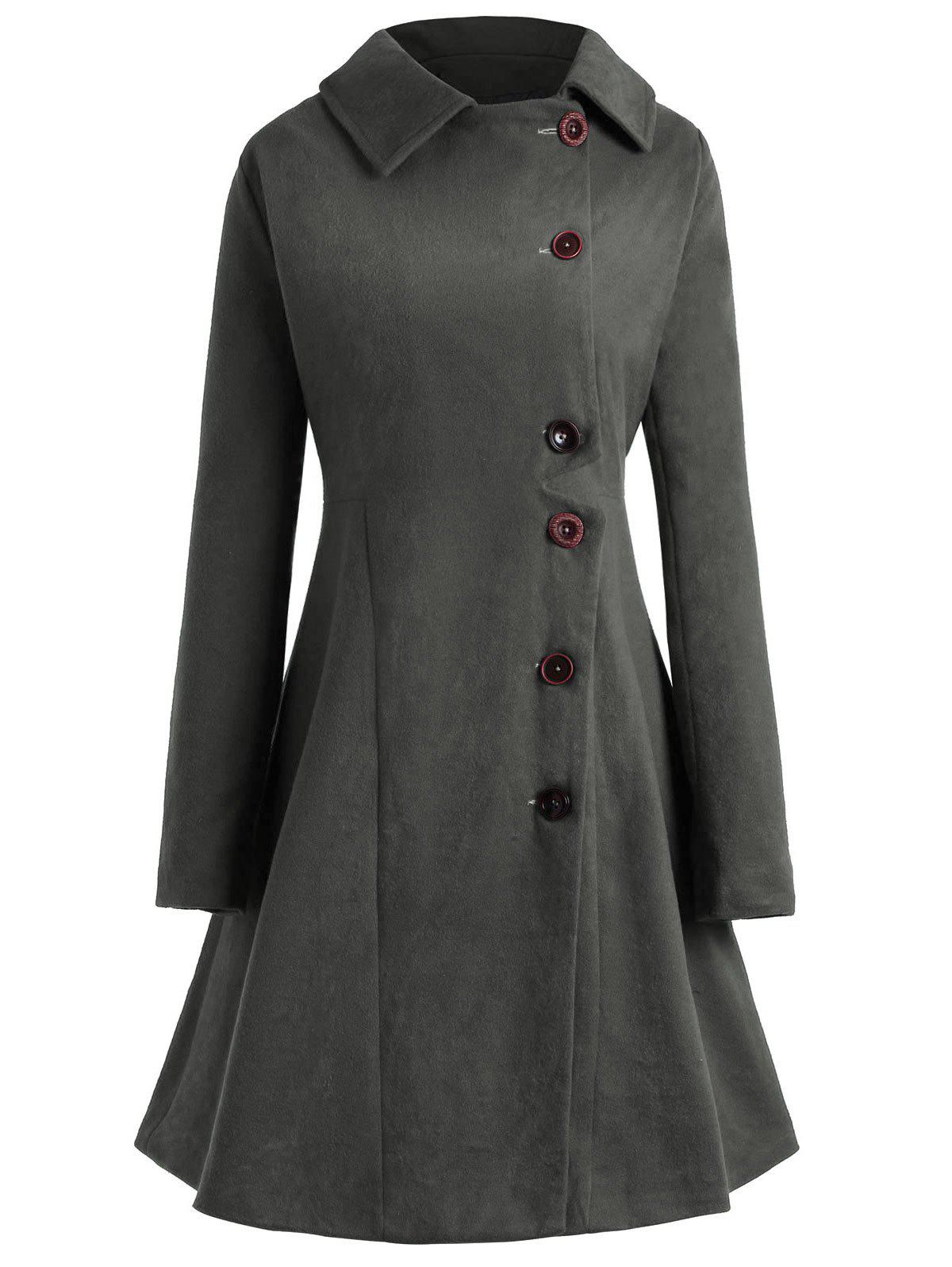 Plus Size Button Up Flare Coat - GRAY L