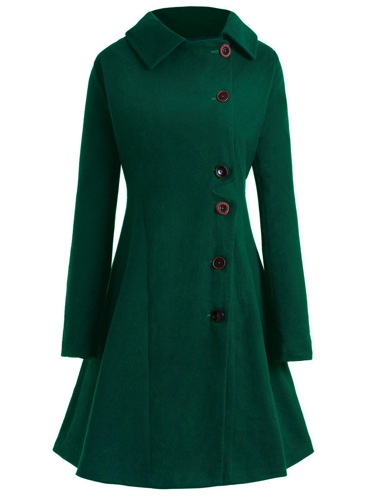 Plus Size Button Up Flare Coat - MEDIUM SEA GREEN 2X