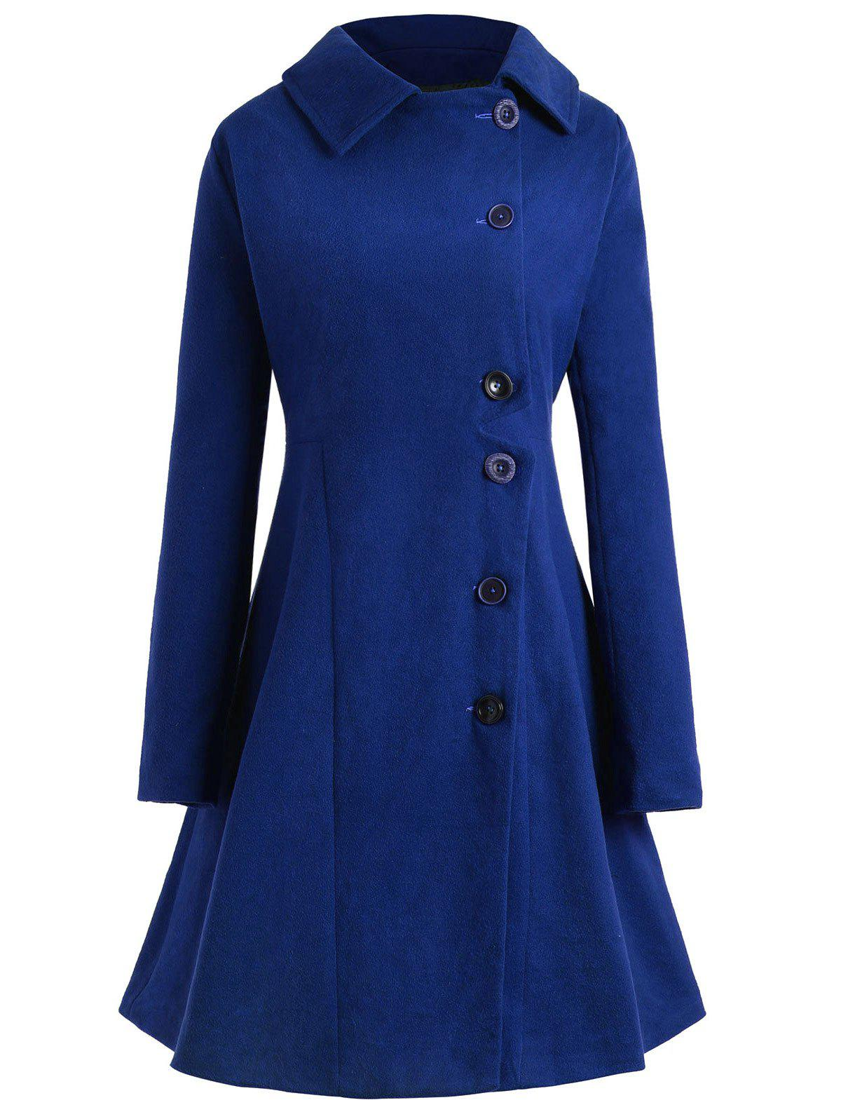 Plus Size Button Up Flare Coat - BLUE L