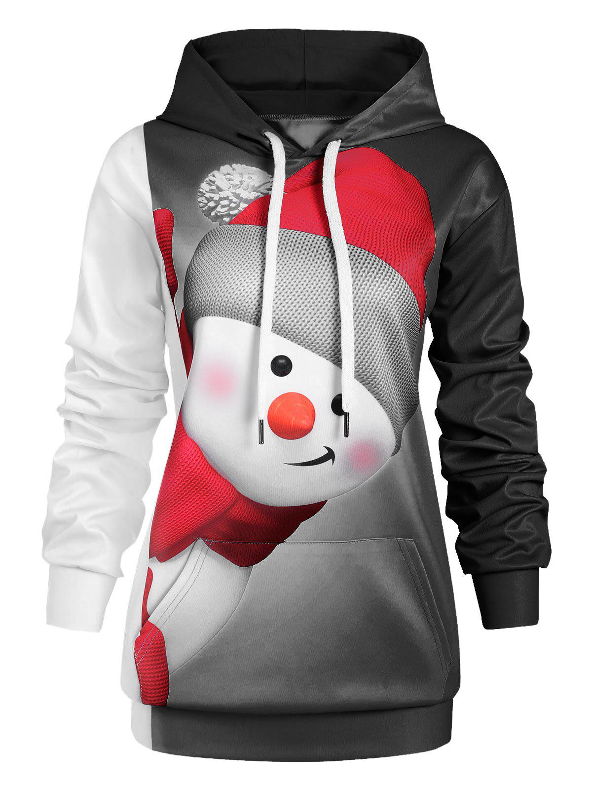 Plus Size Pullover Christmas Snowman Hoodie - BLACK 4X