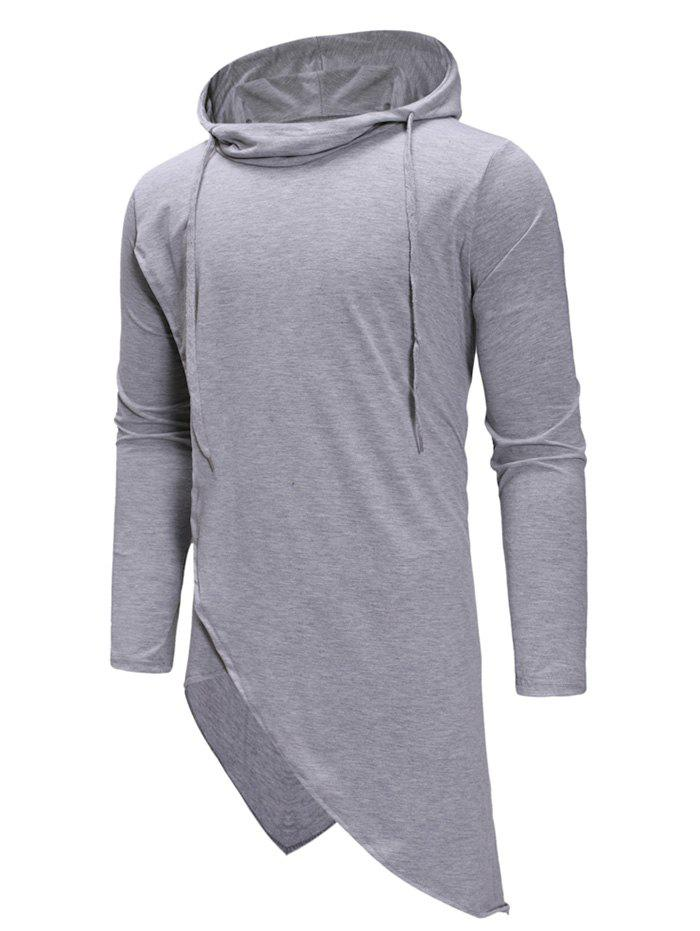 Irregular Solid Color Drawstring Hooded Shirt - LIGHT GRAY M
