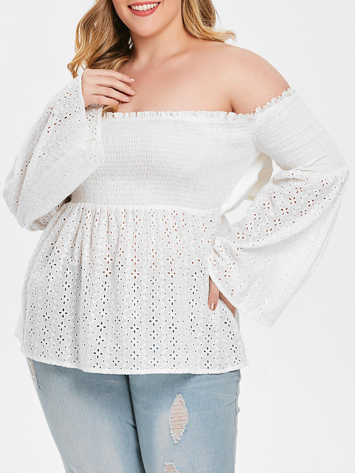 Plus Size Off Shoulder Smocked Peplum Blouse - WHITE 5X