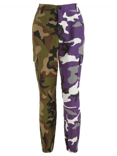 High Waist Camo Panel Pants - ACU CAMOUFLAGE L