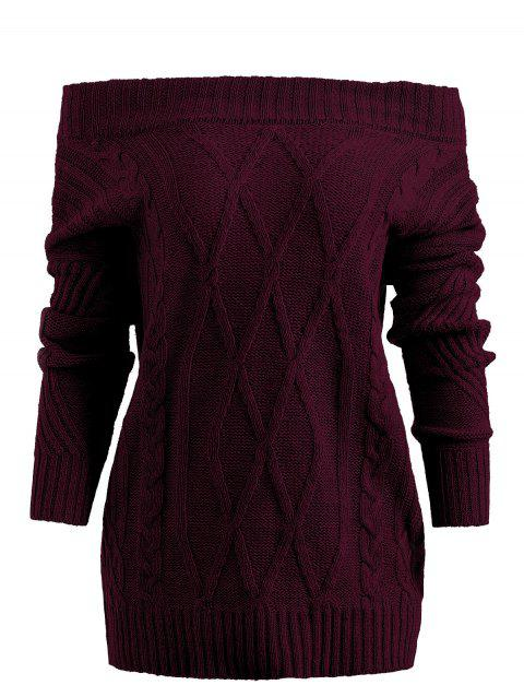 Off Shoulder Geometric Pullover Sweater - RED WINE L