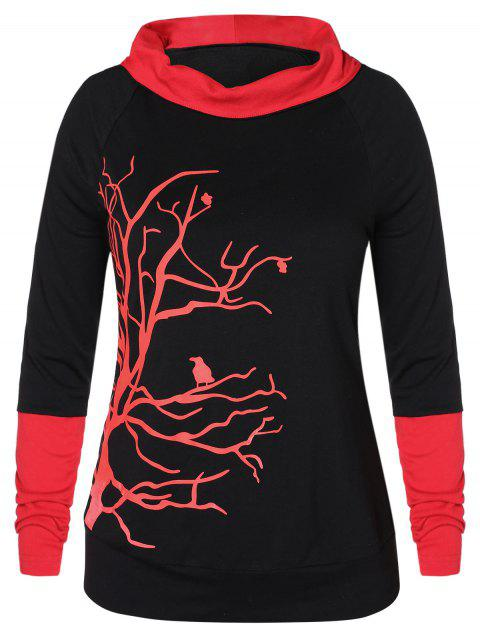 Plus Size Branch Pattern Print Hit Color Hoodie - BLACK 4X