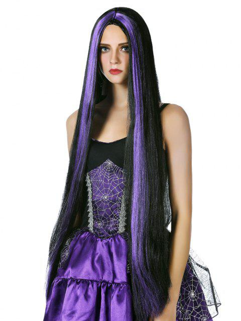 Ultra Long Straight Cosplay Synthetic Wig - multicolor B