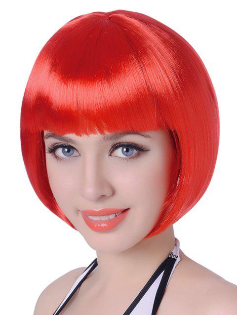 Neat Bang Short Straight Bob Cosplay Party Synthetic Wig - LAVA RED