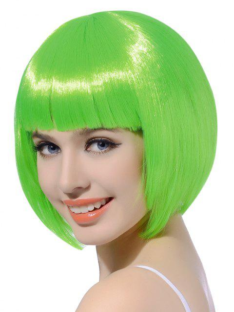 Neat Bang Short Straight Bob Cosplay Party Synthetic Wig - YELLOW GREEN