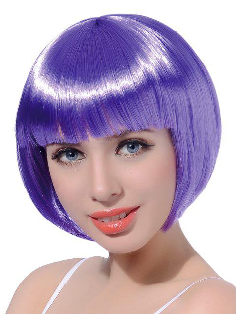 Neat Bang Short Straight Bob Cosplay Party Synthetic Wig - PURPLE AMETHYST