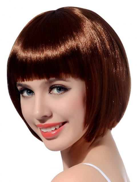 Neat Bang Short Straight Bob Cosplay Party Synthetic Wig - COFFEE