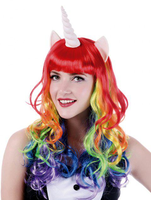 Long Full Bang Colorful Wavy Cosplay Synthetic Wig with Unicorn Horn Earrings - multicolor