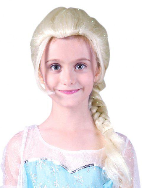 Medium Braids Party Cosplay Synthetic Wig for Kids - WHITE