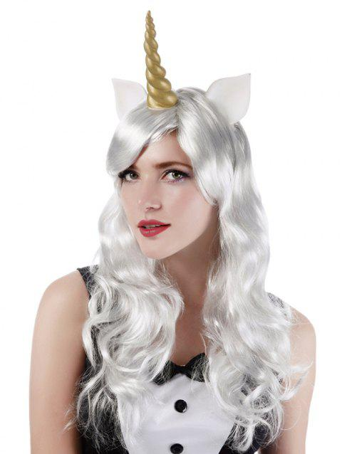 Long Side Bang Wavy Cosplay Party Synthetic Wig with Horn Earrings - WHITE