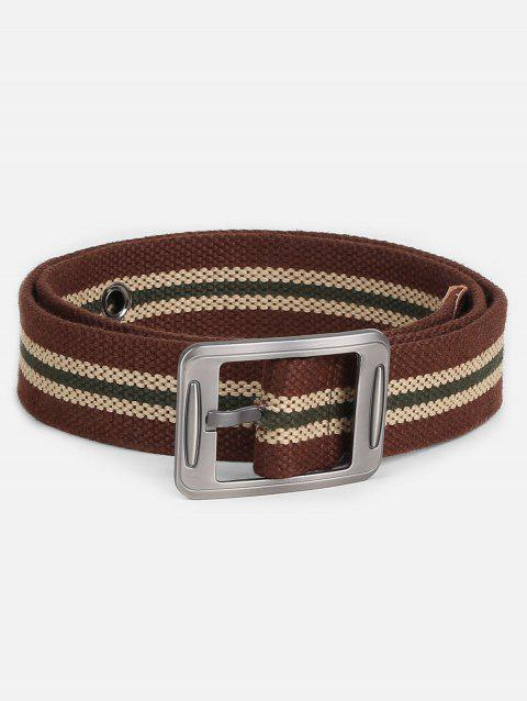 Casual Student Canvas Pin Buckle Belt - COFFEE