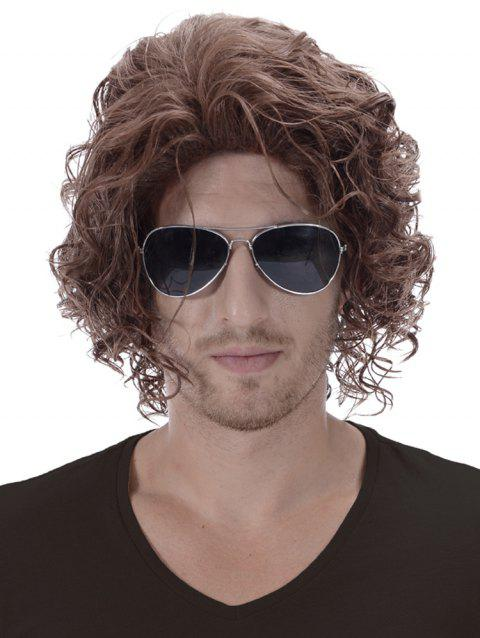 Short Side Bang Shaggy Curly Synthetic Men Wig - BROWN