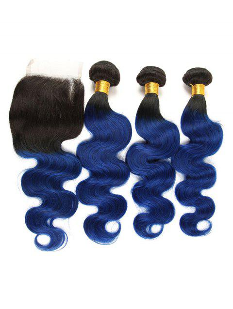 Real Human Hair Ombre Body Wave 3Pcs Virgin Hair Weaves - multicolor 14INCH X 14INCH X 14INCH X CLOSURE 12INCH