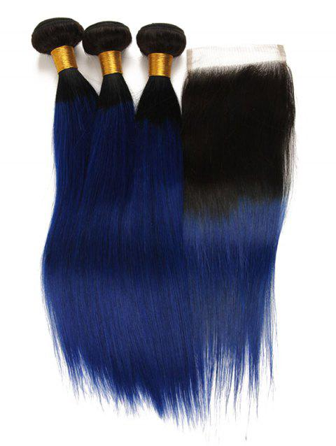 Real Human Hair Ombre Straight 3Pcs Virgin Hair Weaves with Closure - multicolor 16INCH X 16INCH X 16INCH X CLOSURE 14INCH