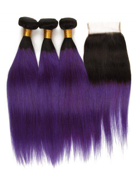 3Pcs Ombre Straight Human Hair Virgin Hair Weaves with Closure - multicolor 14INCH X 16INCH X 18INCH X CLOSURE 12INCH