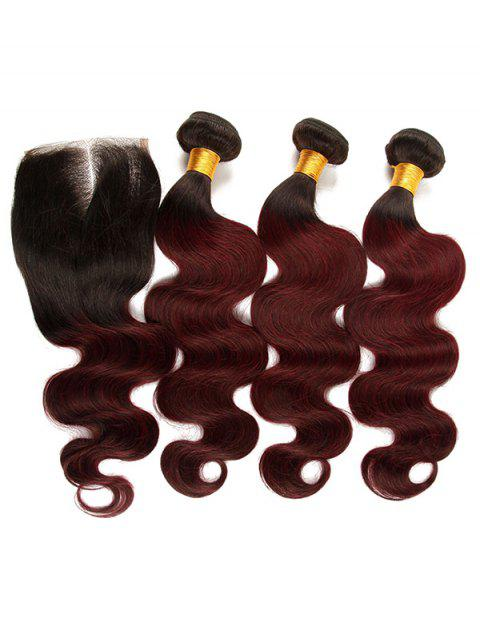 3Pcs Ombre Body Wave Real Human Hair Brazilian Virgin Hair Weaves with Closure - multicolor 14INCH X 14INCH X 14INCH X CLOSURE 12INCH