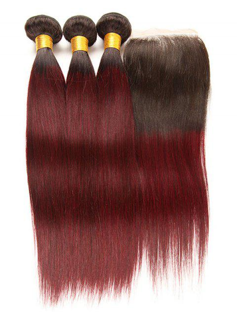 Real Human Hair Ombre Straight Virgin Hair Weaves with Closure - multicolor 18INCH X 20INCH X 22INCH X CLOSURE 16INCH