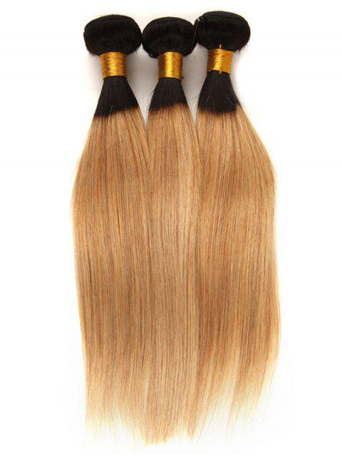3Pcs Brazilian Virgin Real Human Hair Ombre Straight Hair Weaves - multicolor 14INCH X 14INCH X 14INCH