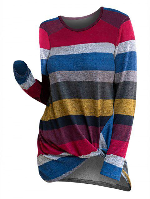 Striped Twist Front Pullover Knitwear - multicolor A XL