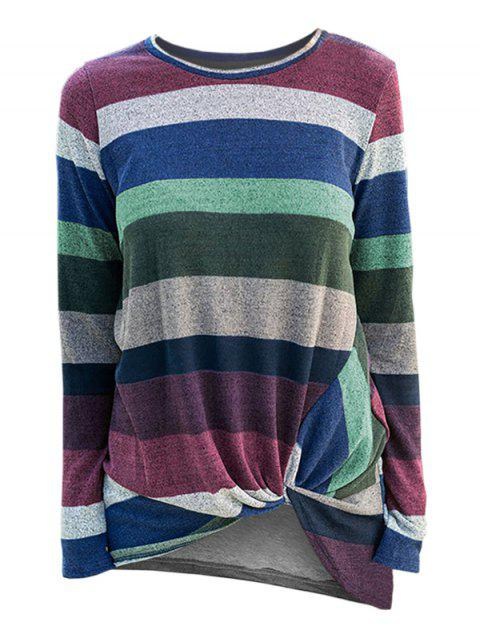 Striped Twist Front Pullover Knitwear - multicolor B S