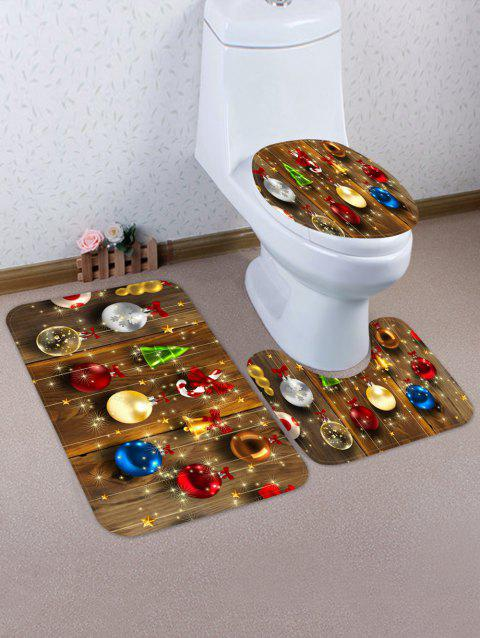 Christmas Hanging Decorations Pattern 3 Pcs Toilet Mat Set - multicolor