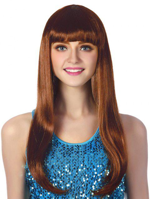 Full Bang Long Straight Party Cosplay Synthetic Wig - COFFEE