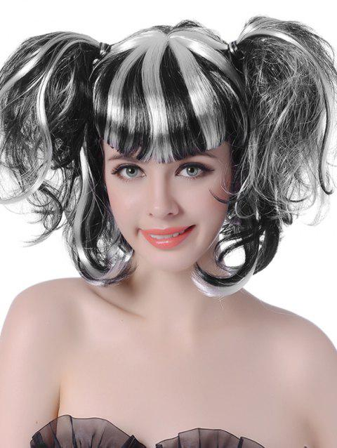 Short Full Bang Colormix Two Ponytails Wavy Cosplay Synthetic Wig - BLACK