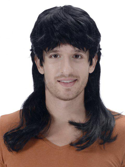 Medium Full Bang Layer Straight Synthetic Men Wig - BLACK