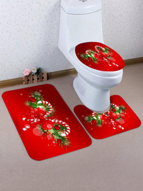 Christmas Candy Cane 3 Pcs Bathroom Toilet Mat - LAVA RED