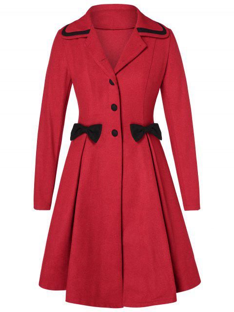 Plus Size Buttons Bowknot Skirted Coat - RED WINE 2X