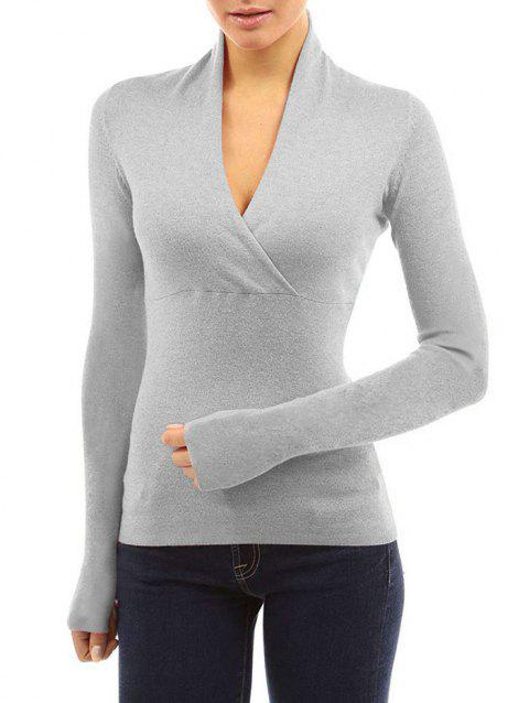 Wrap Plunging Neck Long Sleeve T Shirt - GRAY L