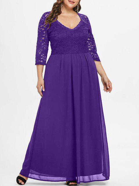 Lace Sleeve Plus Size Sweetheart Neck Maxi Dress - PURPLE 1X